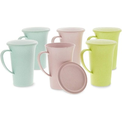 Okuna Outpost 6-Pack Unbreakable Wheat Straw Tea Cups, Coffee Mugs with Lids & Handles 14.88 Oz