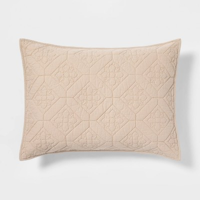 Embroidered Cotton Quilt Sham - Threshold™