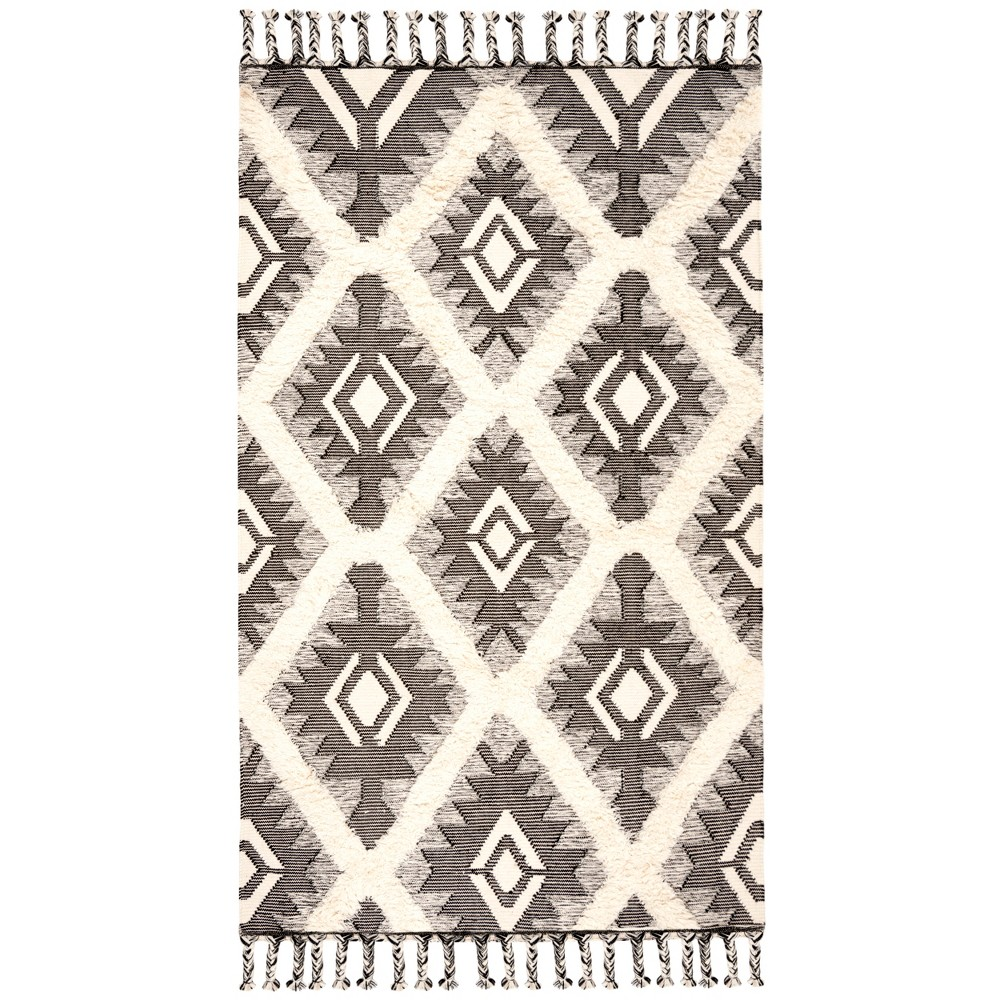 6 39 X9 39 Geometric Design Knotted Area Rug Black Ivory Safavieh