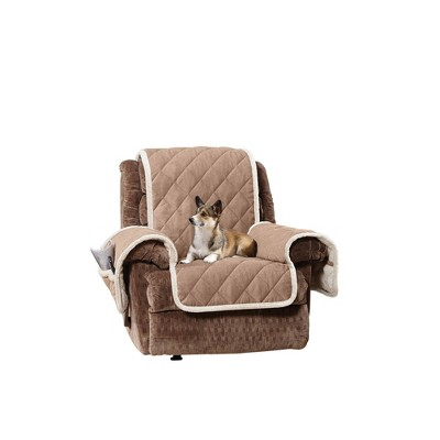 Sherpa/Suede Reversible Recliner Cover Beige - Sure Fit