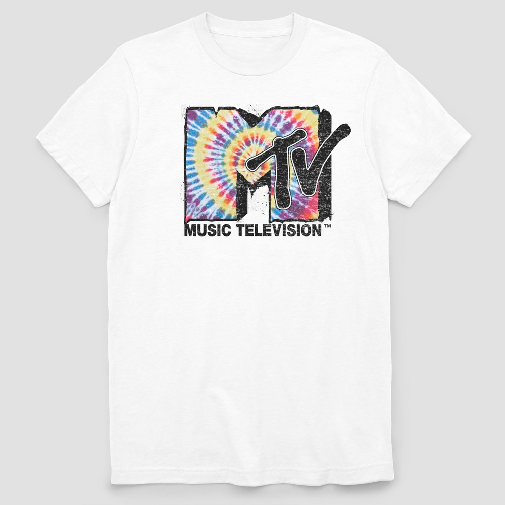 Image of Men's MTV Melted Short Sleeve Graphic T-Shirt - White 2XL