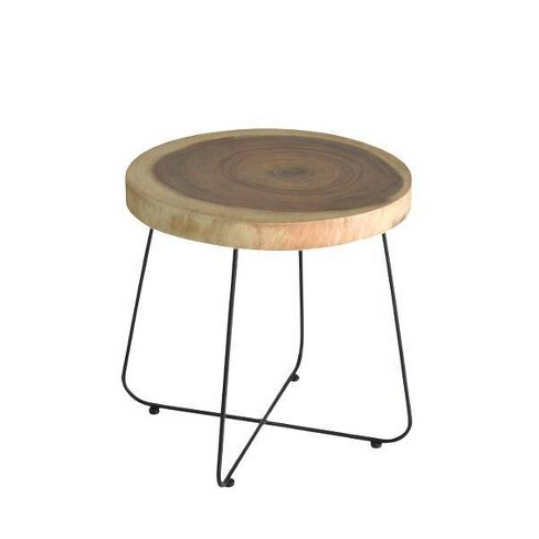 Mollie Wood and Iron Side Table Brown - East At Main - image 1 of 4