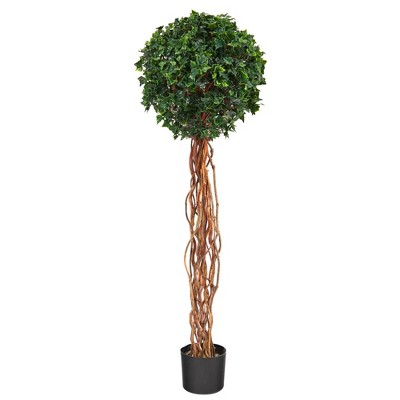 4.5' Indoor/Outdoor English Ivy Single Ball Artificial Topiary Tree with Natural Trunk - Nearly Natural