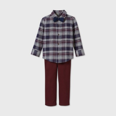 Toddler Boys' 3pc Dressy Plaid Top and Bottom Set - Just One You® made by carter's Maroon