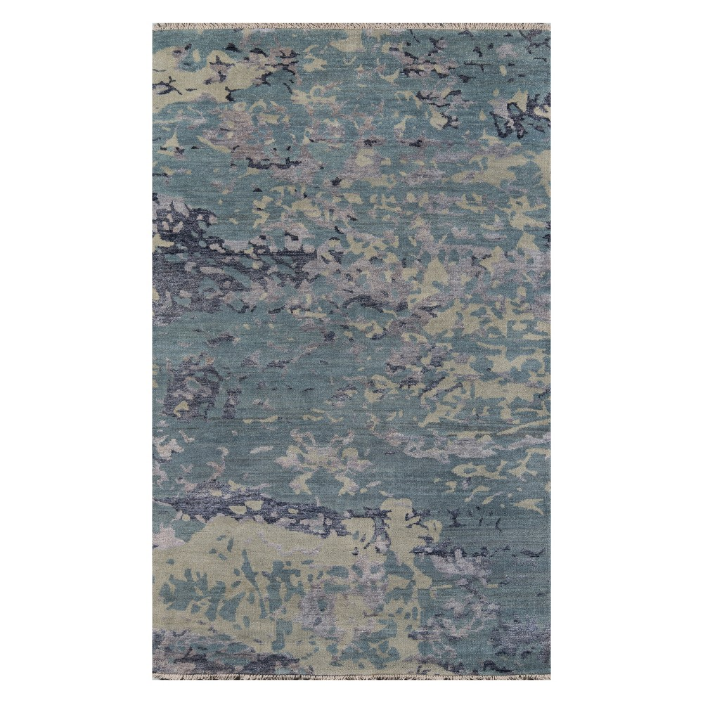 2'X3' Splatter Knotted Accent Rug Blue - Momeni, Green