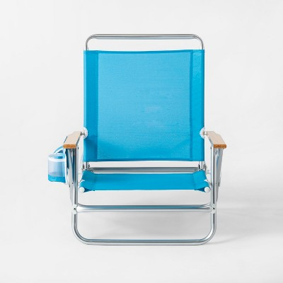 3-Position Beach Chair With Beverage Holder Blue - Sun Squad™