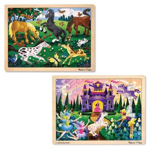 Melissa Doug Wooden Jigsaw Puzzles Set Fairy Princess Castle And Horses 2pc