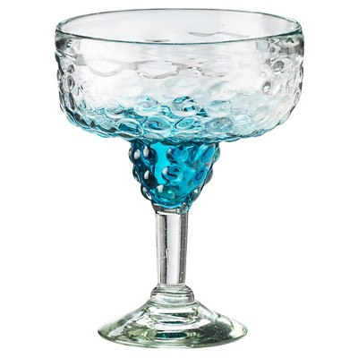 Global Amici 15 oz Catalina Ombre Hobnail Margarita Glass Aqua - Set of 4