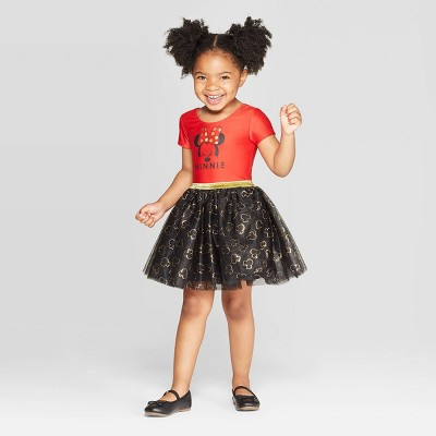 Toddler Girls' Minnie Mouse Tutu Dress - Red 5T