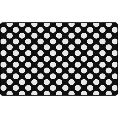 """7'6""""x11' Rectangle Indoor and Outdoor Polka Dots Nylon Accent Rug Black - Flagship Carpets"""