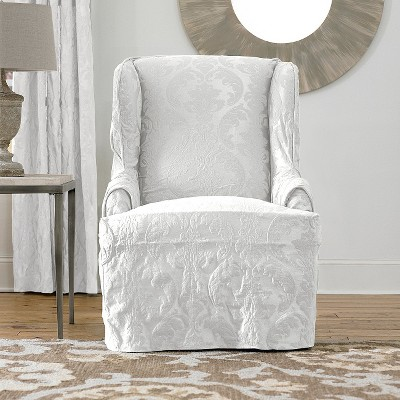 Matelasse Damask Wing Chair Slipcover Cover White   Sure Fit : Target