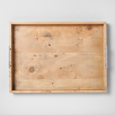 Burled Wood Tray with Metal Handles Extra Large - Project 62™