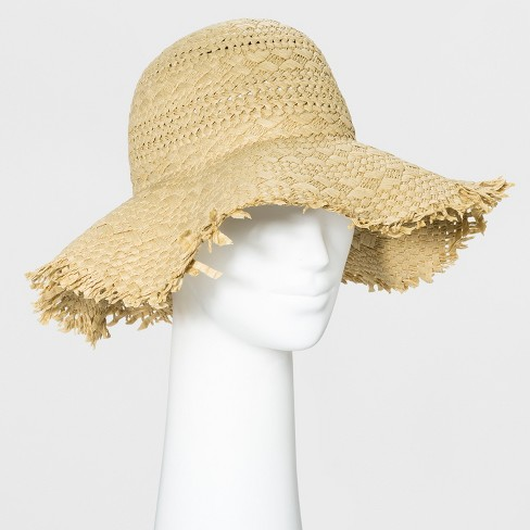 Women's Straw Floppy Hat - Universal Thread™ Tan - image 1 of 1