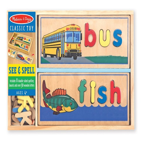 Melissa & Doug® See & Spell Wooden Educational Toy With 8 Double-Sided Spelling Boards and 64 Letters - image 1 of 3