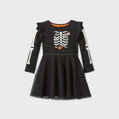 Toddler Girls' Skeleton Tulle Long Sleeve Dress - Cat & Jack™ Black 2T