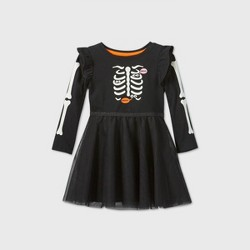 Toddler Girls' Long Sleeve Skeleton Tulle Dress - Cat & Jack™ Black