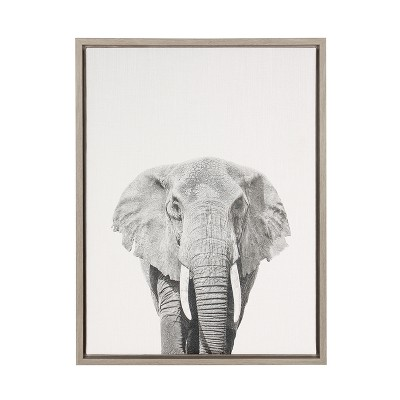 "24"" x 18"" Elephant Framed Canvas Art Gray - Uniek"