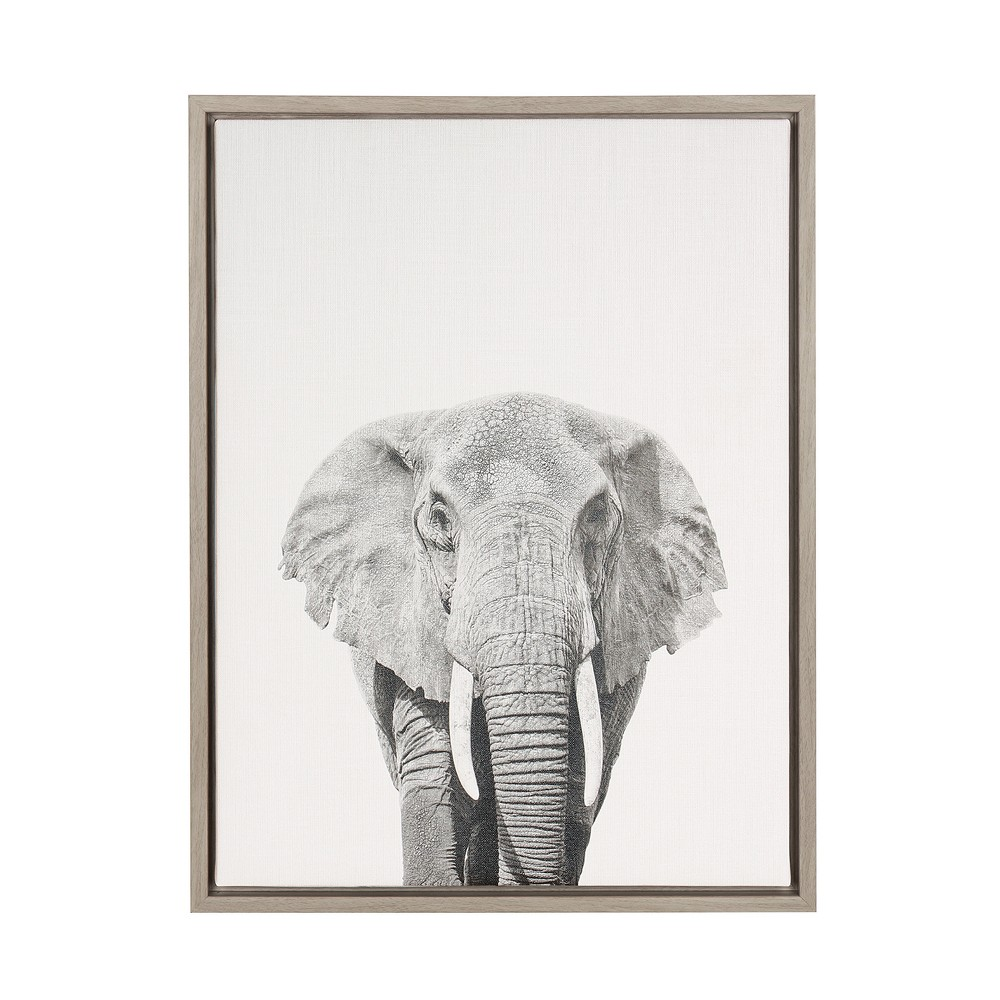 "Image of ""24"""" x 18"""" Elephant Framed Canvas Art Gray - Uniek"""