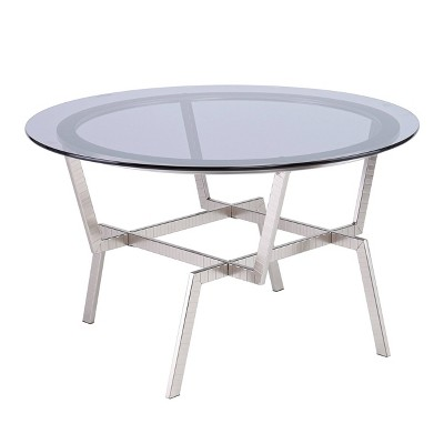 Mawes Round Glass-Top Cocktail Table Nickel - Aiden Lane