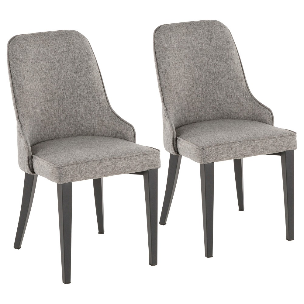 Set of 2 Nueva Contemporary Dining Accent Chair Gray - LumiSource