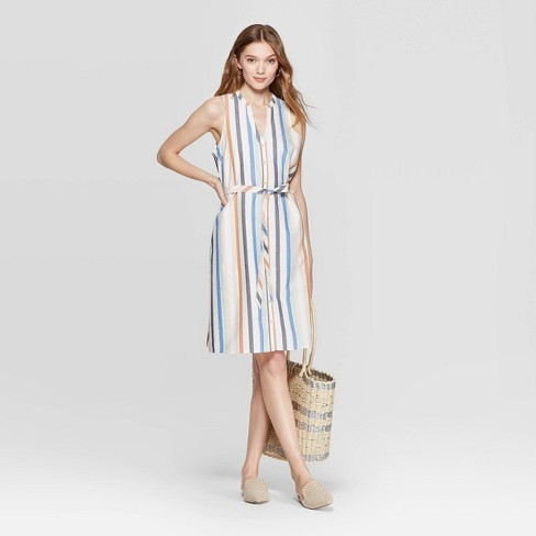 Women's Striped Sleeveless Collared Shirtdress - A New Day™ Tan - image 1 of 10
