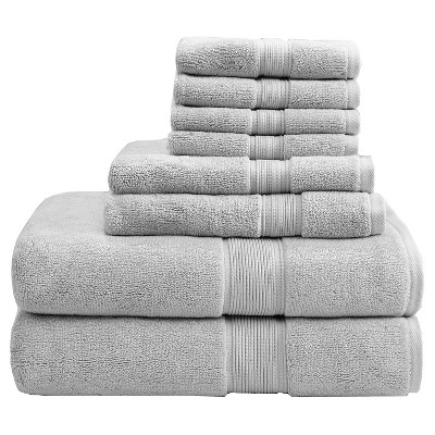 8pc Bath Towel Set Silver