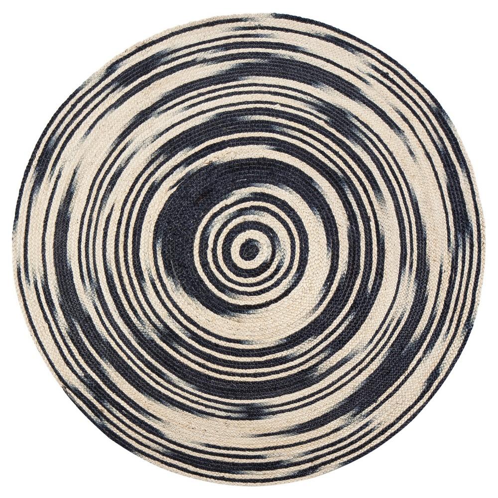 Gray Multi Stripe Braided Round Area Rug 8' - Anji Mountain