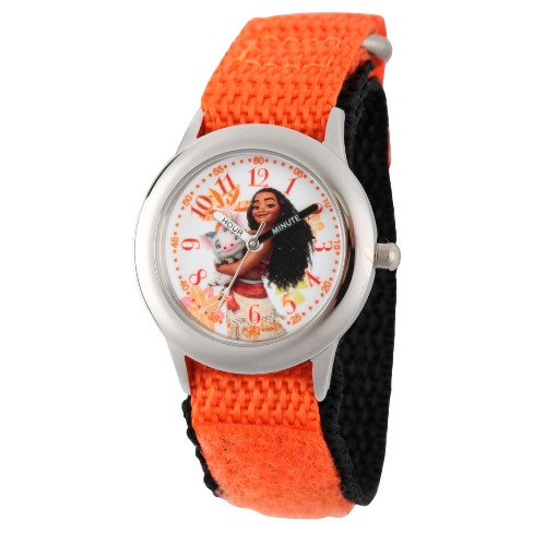 Girls' Disney Moana and Pua Stainless Steel Time Teacher Watch - Orange - image 1 of 2