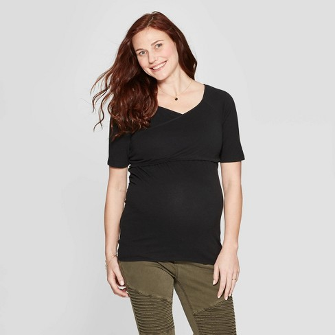 Maternity Short Sleeve Crossover Nursing T-Shirt - Isabel Maternity by Ingrid & Isabel™ Black - image 1 of 3