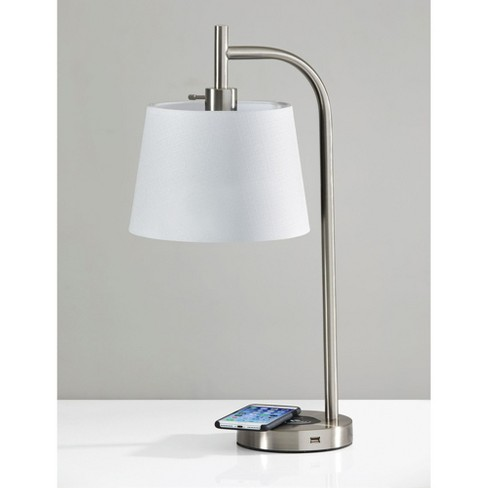 Wireless Charging Table Lamp Medium Silver Adesso