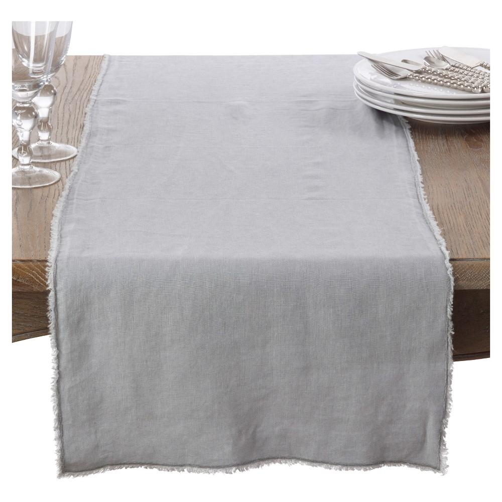 16 34 X72 34 Fringed Design Stone Washed Table Runner Gray Saro Lifestyle