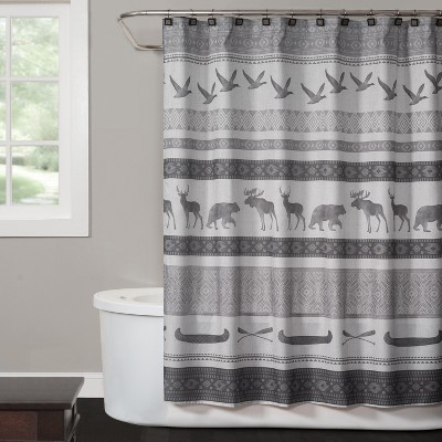 Wilderness Calling Shower Curtain Gray - Saturday Knight Ltd.