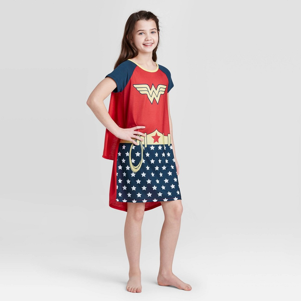 Image of Girls' Wonder Woman Nightgown with Cape - Red S, Girl's, Size: Small