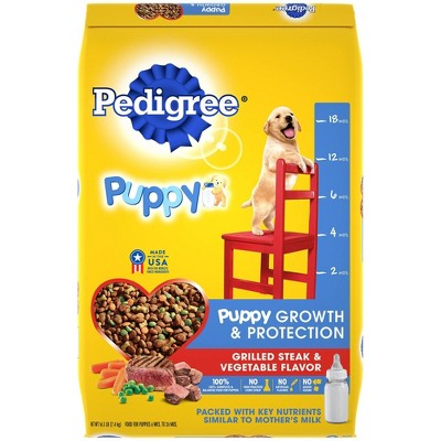 Pedigree Grilled Steak & Vegetable Flavor Puppy Growth & Protection Complete & Balanced Dry Dog Food - 16.3lbs