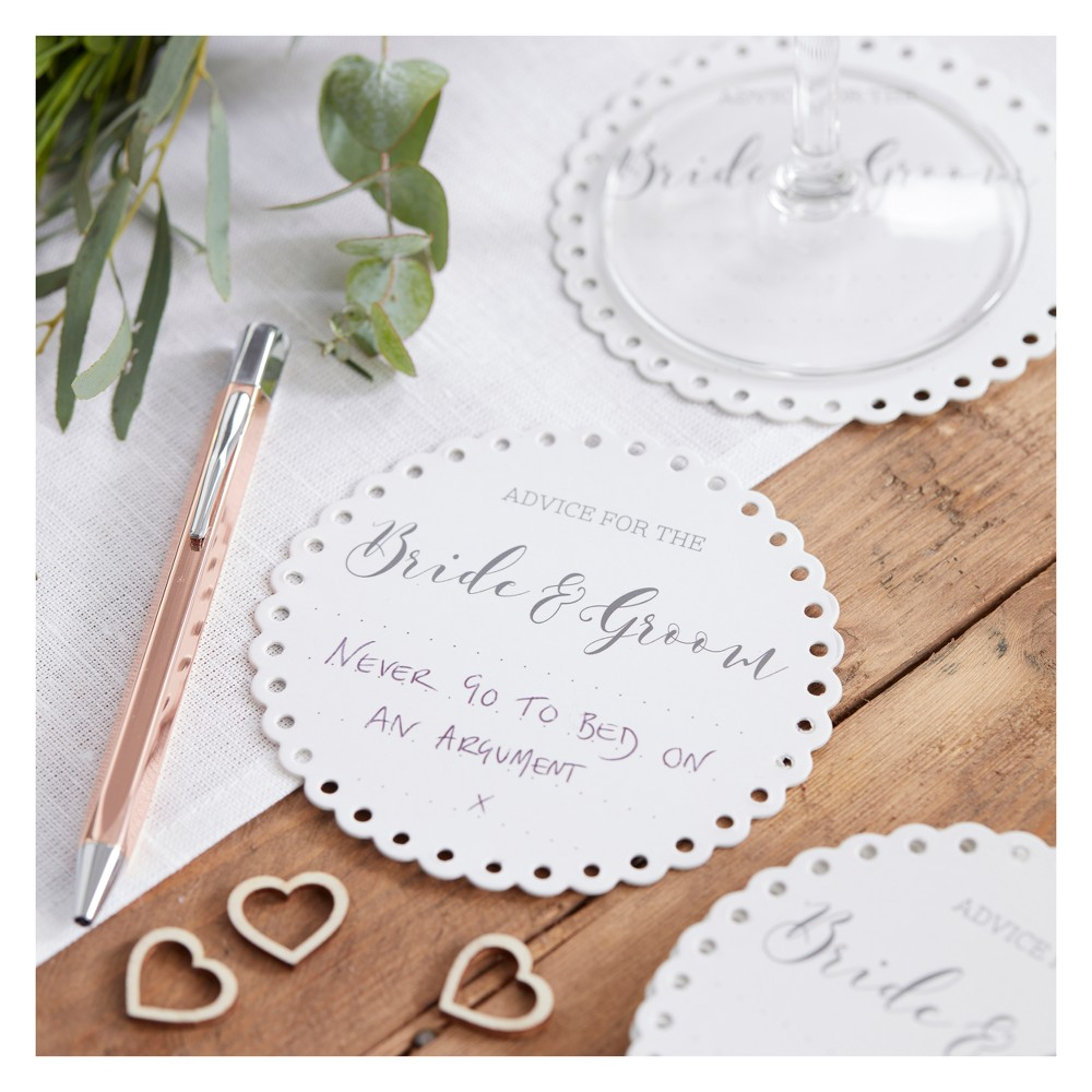 "Image of ""20ct """"Advice For The Bride And Groom"""" Coasters"""
