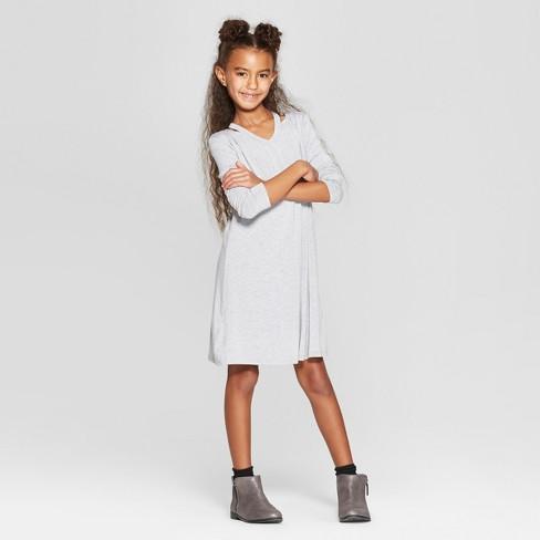 Girls' Long Sleeve Cut Out A Line Dress - art class™ Gray - image 1 of 3