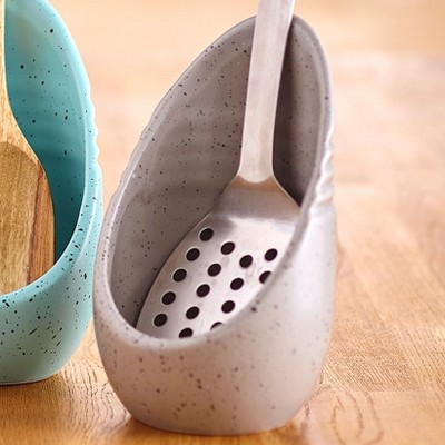 Lakeside Speckled Upright Earthenware Spoon Rest - Kitchen Utensil Holder