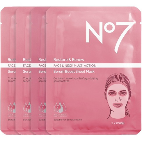 No7 Restore & Renew Multi Action Serum Boost Face Mask Sheet Value Pack - image 1 of 3
