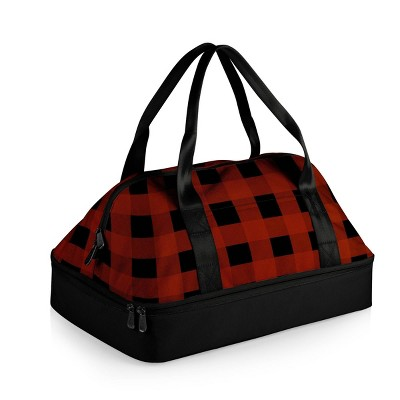 Picnic Time Potluck Casserole Tote with Buffalo Plaid Pattern Dual Compartment Lunch Bag - Red/Black