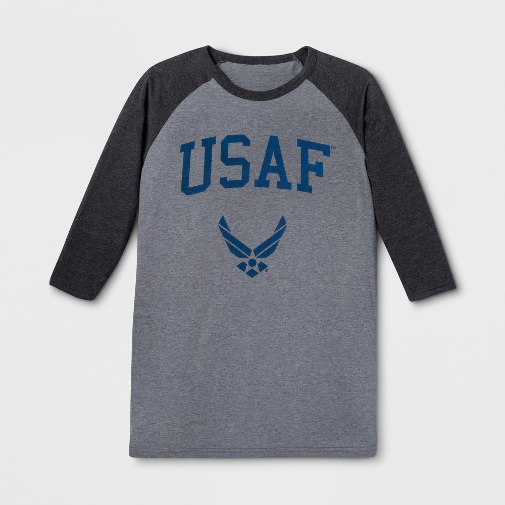 Men's Long Sleeve United States Air Force Crew T-Shirt - Charcoal Heather XL, Gray