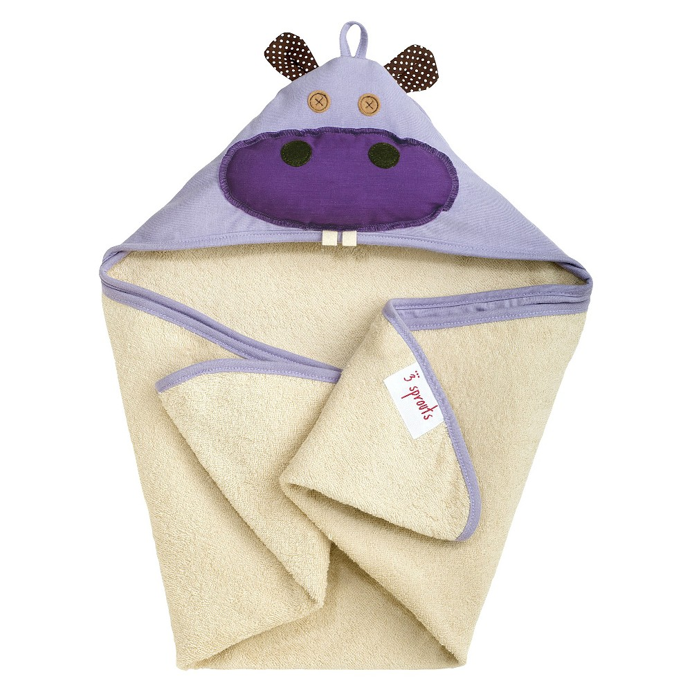 Image of 3 Sprouts Newborn/Infant Hooded Towel - Hippo, Purple