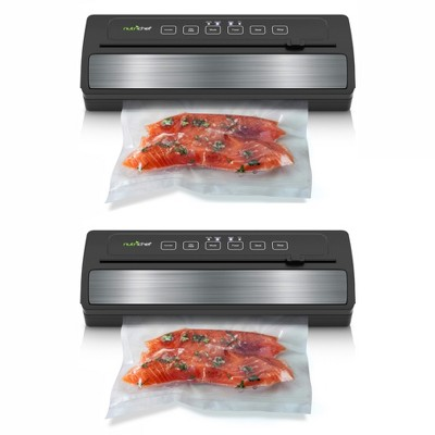 NutriChef PKVS25BK Kitchen Pro Food Electric Vacuum Sealer Preserver System with Environmentally Friendly Polyamide Sealing Bags Included (2 Pack)