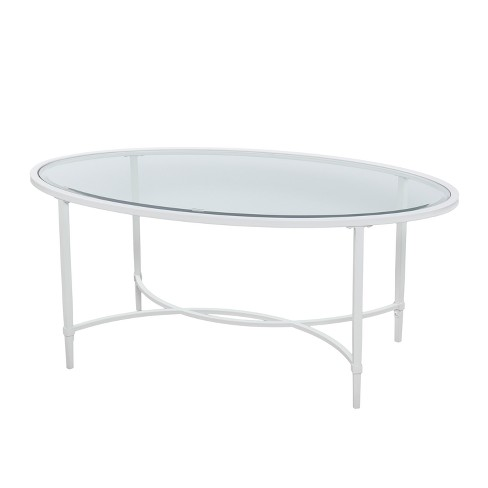 Dickinson Metal Glass Oval Cocktail Table White Target