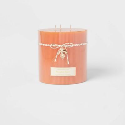 Ribbed Pillar Pumpkin Spice Candle - Threshold™