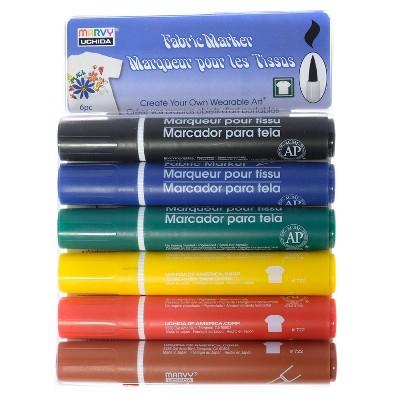 Fabric Brush Markers 6ct - Marvy Uchida