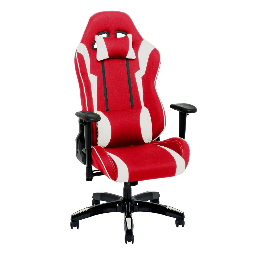 Adjustable High Back Ergonomic Gaming Chair Red/White - CorLiving