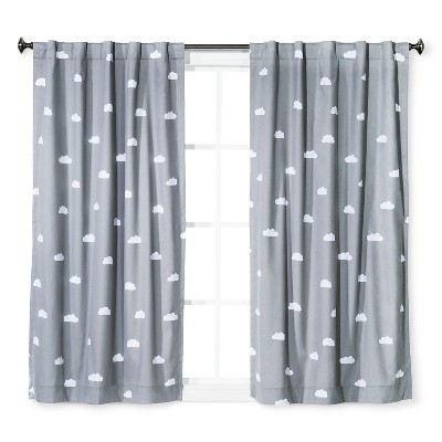 Cloud Print Twill Blackout Curtain Panel Light Gray - Pillowfort™