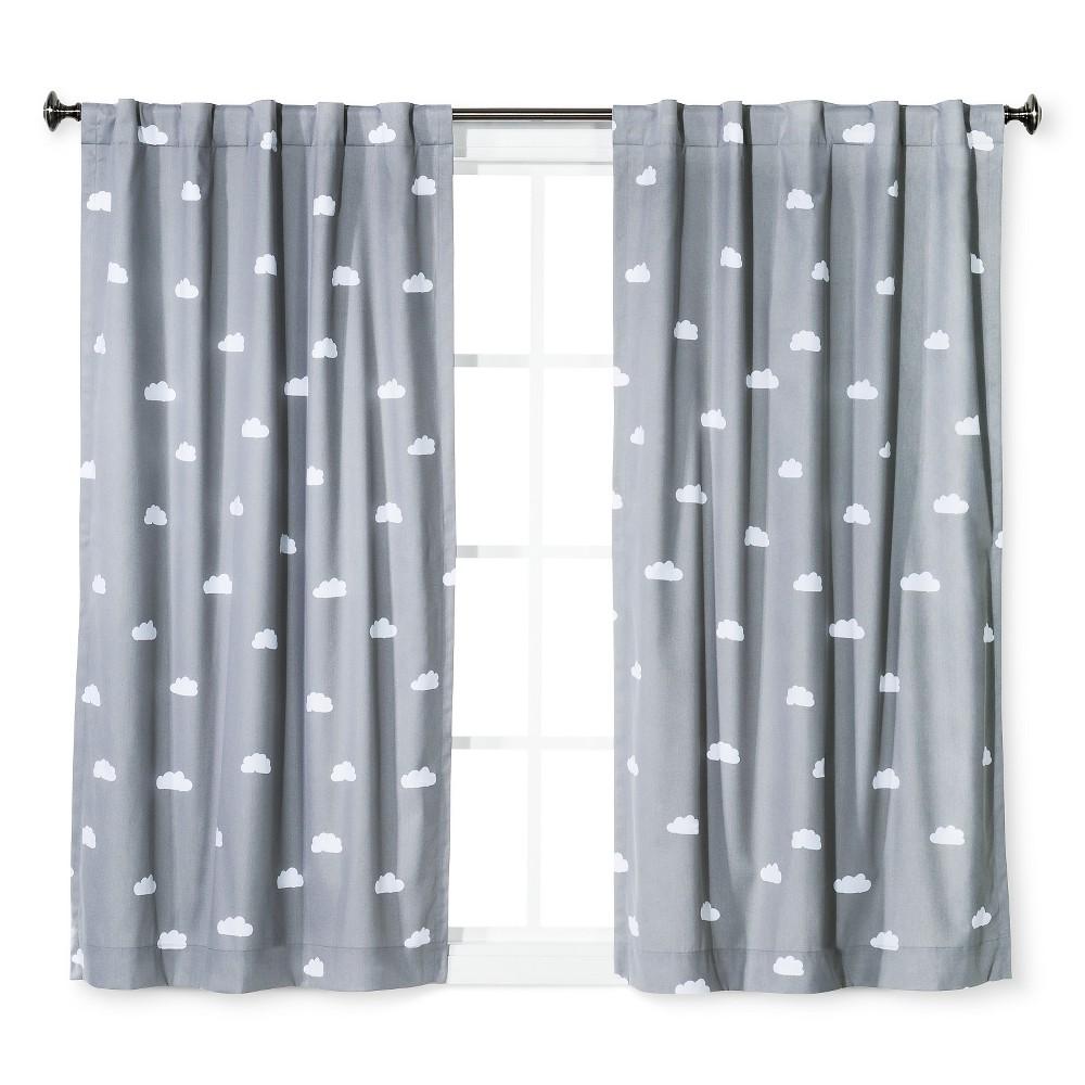 Cloud Print Twill Blackout Curtain Panel Light Gray - Pillowfort, Gray White