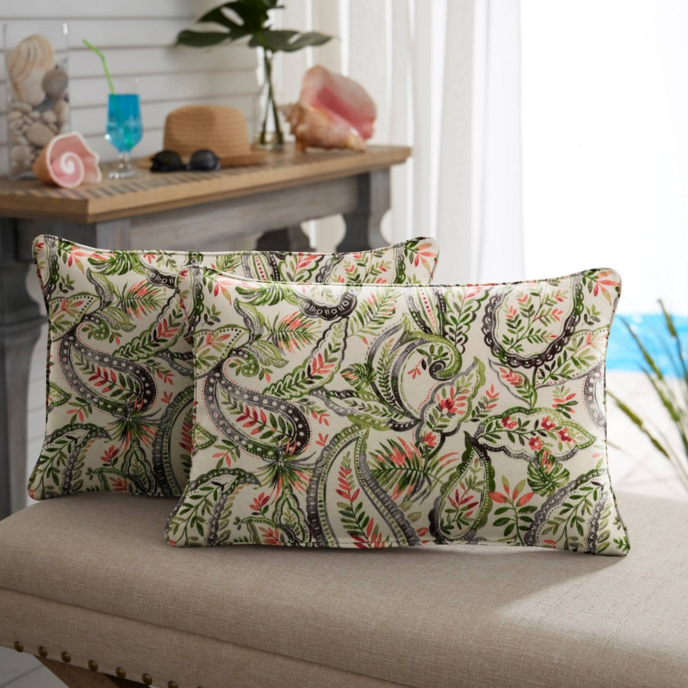 "Image of ""13"""" 2pk Paisley Corded Outdoor Throw Pillows Green/Blue"""