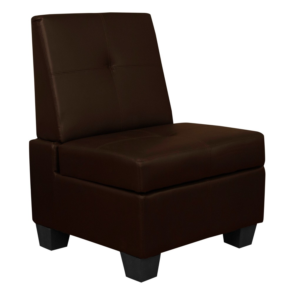 Image of Valet Tufted Padded Hinged Storage Chair - Leather Look - Epic Furnishings, Java Brown